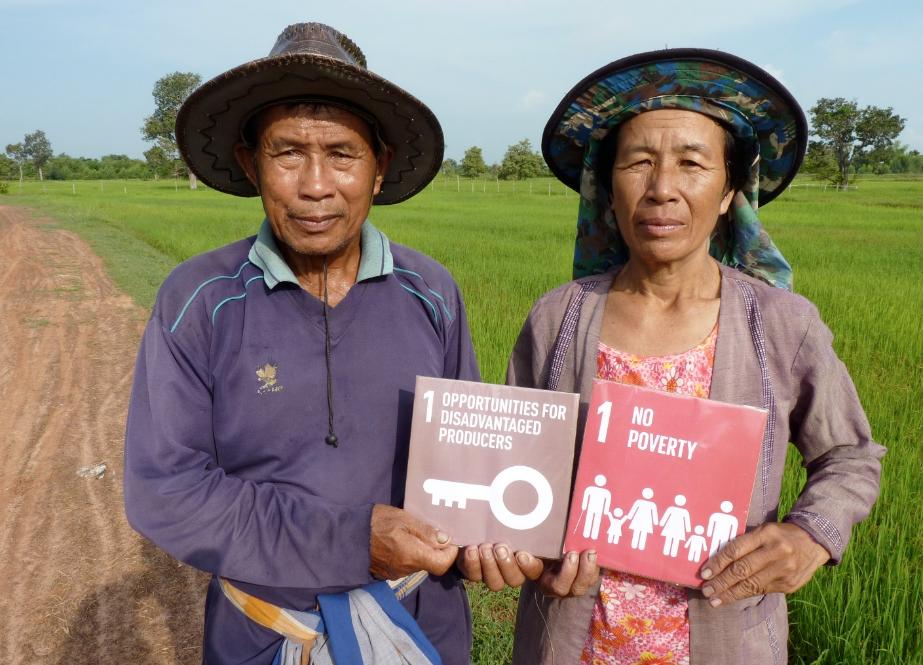 """""""El Comercio Justo es un trampolín para salir de la trampa de la pobreza."""" - Boonthom Krongthongsee y Thongdum Poeyjantuek, productores de arroz orgánico de Green Net (Tailandia, miembro de WFTO)."""
