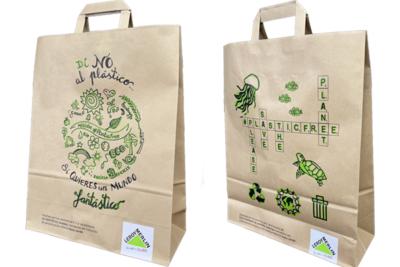 bolsa de papel del mundo con certificado de gestión forestal sostenible y de Comercio Justo